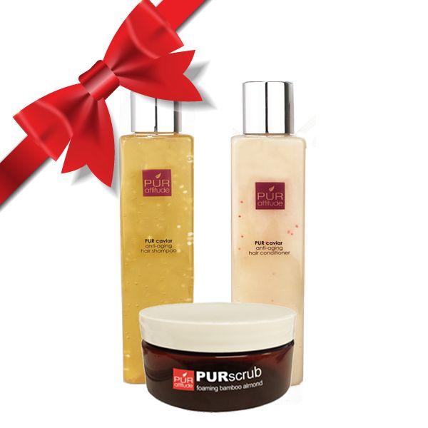 Love Your Body Bath Set (Caviar Shampoo, Caviar Conditioner, and Bamboo Almond Scrub)