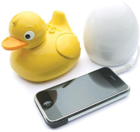 Plug your Phone into the egg and you can take the ducky into the shower with you and listen to your music...its waterproof. SO COOL