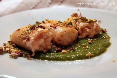 Paccheri ripieni di gamberi e stracciatella su crema di asparagi | Un Pinguino in cucina