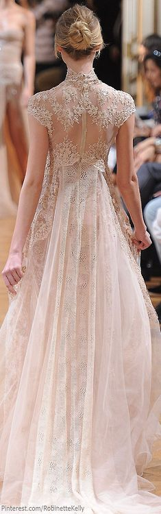 Zuhair Murad sheer wedding dress with silk and pearl embroidery