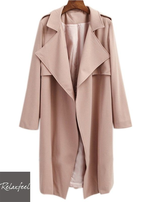 Relaxfeel Women's Pure Color Long Sleeve Wide Lapel Long Coat - New In