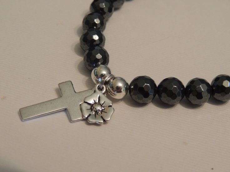 Remembrance Bracelet - Poppy Charm with Cross, faceted 8mm hematite gemstones
