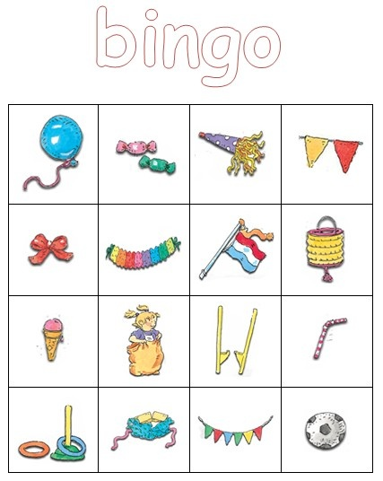 Plaatjesbingo (met tekeningen van Dagmar Stam). Leuk voor wanneer je de verjaardag van de juf viert (of als afscheidsactiviteit). Kinderen vinden het geweldig!