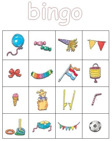 Plaatjesbingo (met tekeningen van Dagmar Stam). Leuk voor wanneer je de verjaardag van de juf viert (of als afscheidsactiviteit). Kinderen vinden het geweldig!