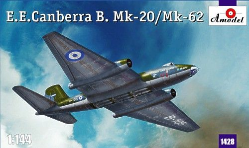 E.E. Canberra B.Mk.20 / B.Mk.62, with decals for 1) Argentina Air Force, B-105, 2) Australian Air Force, South Vietnam, 1971, A84-244, 3) Australian Air Force, A84-232. A Model, 1/144, injection, No.1428. Price: 10,98 GBP.