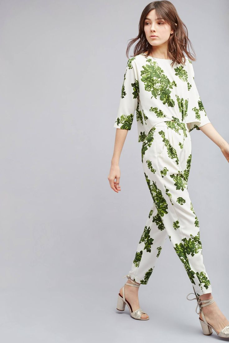 Slide View: 1: Kara Leaf-Print Jumpsuit, White