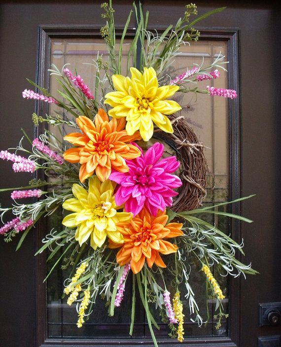 Bright Summer Wreaths Colorful Spring Door Wreaths by LuxeWreaths