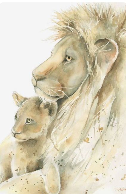 Katrina Pete | WATERCOLOR | Lion Father and Cub