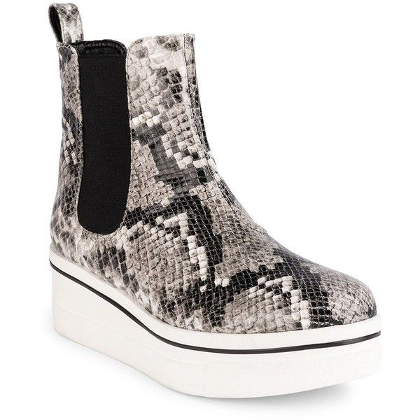 Stella McCartney Binx Snake-Embossed Platform Boots (154.690 CLP) ❤ liked on Polyvore featuring shoes, boots, apparel & accessories, chelsea ankle boots, rubber sole boots, pull on boots, platform chelsea boots and stella mccartney boots