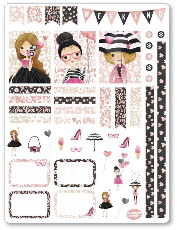 Galentine Decorating Kit / Weekly Spread Planner Stickers