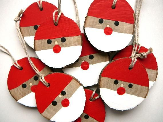 Santa Christmas Ornament 5 pcs., Christmas Rustic Ornament, Christmas Gift Tag, Wooden Christmas decorations