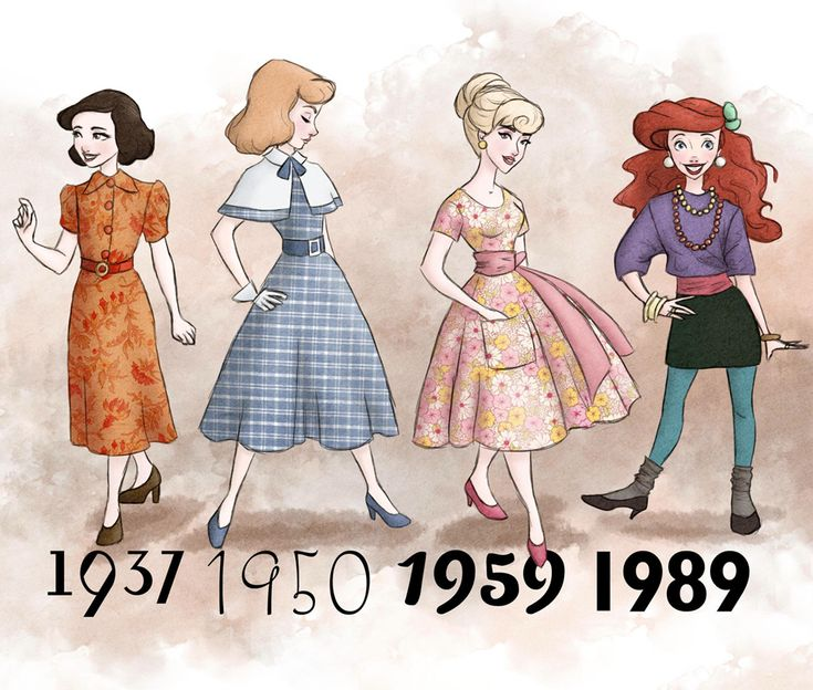 Disney Princesses in the outfits of the years they premiered. - Snow White, Cinderella, Aurora, and Ariel: