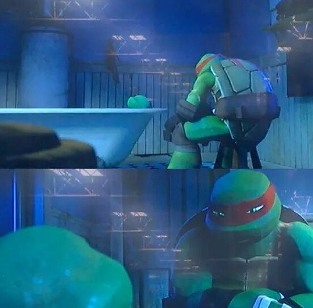 Omg!!! The first episode to season three which is airing October 2nd. This is a reference to the 1990 movie where raph was unconscious and they put him in the bath full of water. But instead its the other way around!!! I love this tmnt series!!!!
