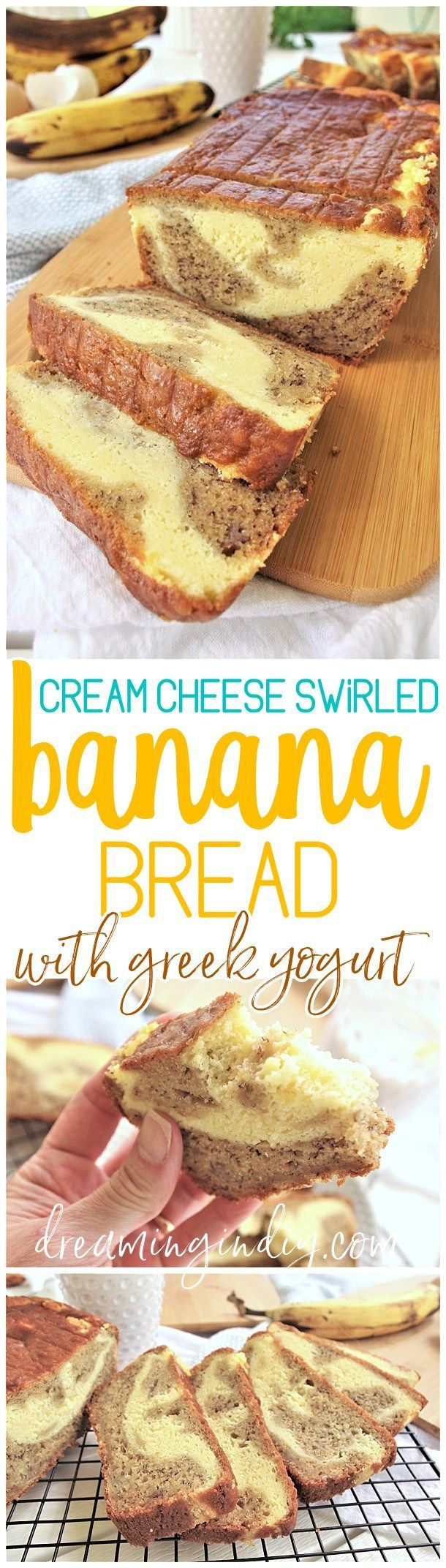 The Best Easy Cream Cheese Filled Banana Dessert Bread Recipe by Dreaming in DIY - This is the BEST banana bread franken recipe we've ever conjured up (and we've tried a bagillion and a half). It turns out with perfect yummy texture and flavors. To tip the scales from delish to perfection - it's swirled with scrumptious cream cheese filling elevating it from yummy snack to irresistible dessert status!