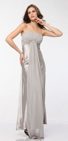 Plus Size Silver Bridesmaid Gown Rhinestone Brooch Chiffon Front Drape Dress