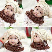 Inverno cute baby bambini ragazzi ragazze bambino bambini doppia sfera del knit maglione cap cappello caldo di inverno lavorato a maglia cappello # L03090  (China (Mainland))