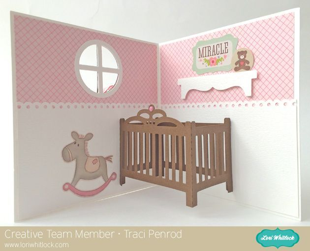 Lori Whitlock Pop-Up Baby Crib Card Tutorial with Traci Penrod.