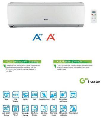 Climatizzatore inverter mono split 9000 btu FLAT  Gree by ARGO  condizionatore A++/A+ pompa calore