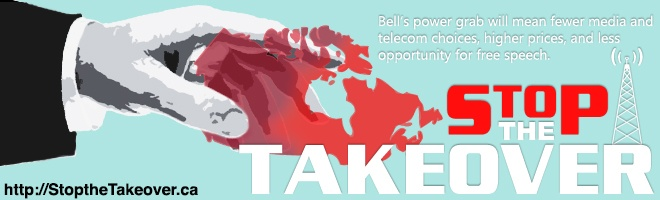 Today is the LAST DAY to push back against Bell's attempt to control more of our communication sources! Bell's power grab for Astral Media would mean less choice for Canadians. We stopped this deal before, so let's raise our voices again. Submit your comments TODAY by 5pm PST (8pm EST) to make your voice heard: http://StoptheTakeover.ca