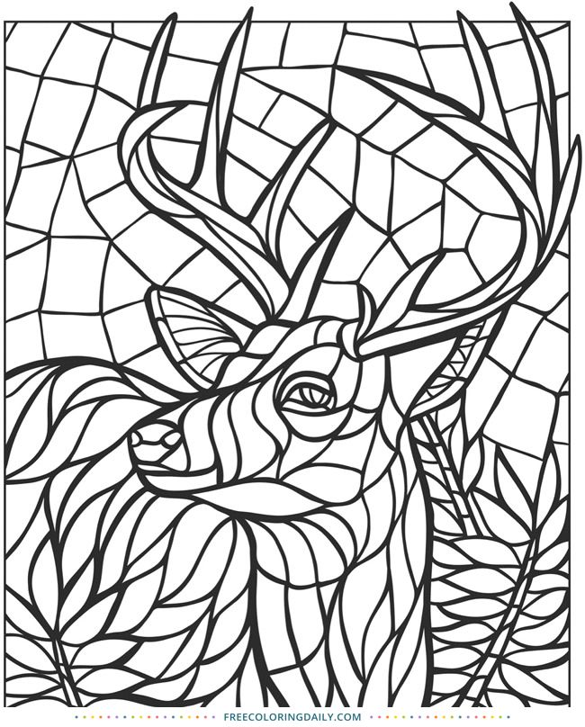 Free Deer Stained Glass Coloring Animal Coloring Pages Pattern Coloring Pages Free Mosaic Patterns