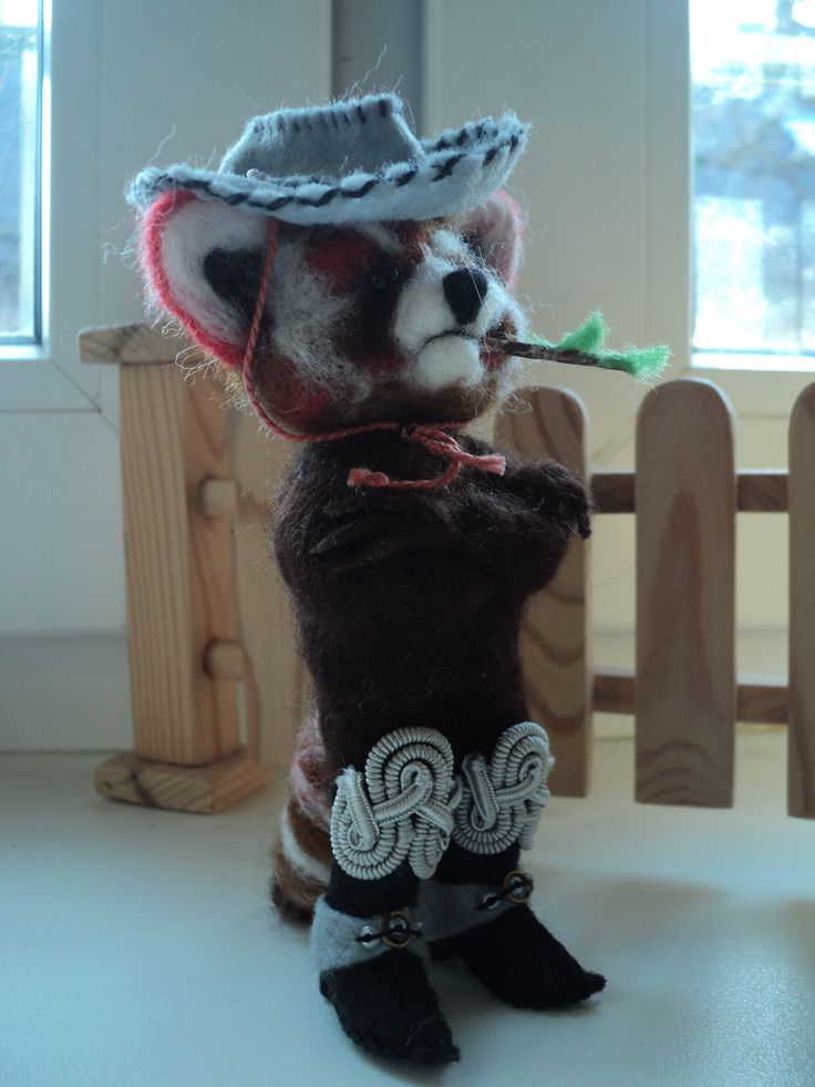 Handmade red panda with bamboo and in boots