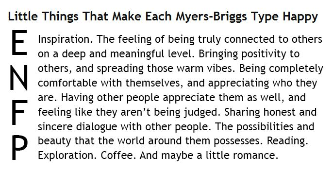 Little Things That Make Each Myers-Briggs Type Happy - ENFP