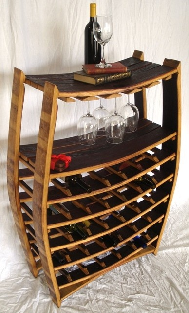 Large Wine Barrel Rack with glass holders- 100% recycled Napa barrels