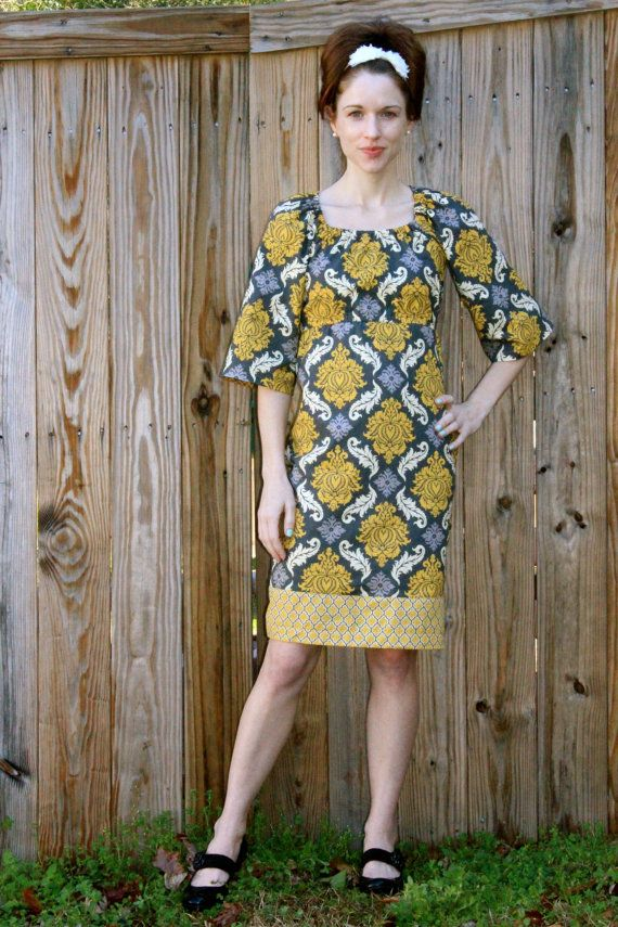 Retro 70's Inspired Damask Dress Women's Bell by SweetHomeBoutique, $80.00