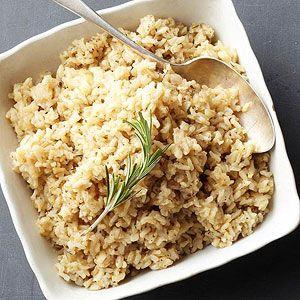 Herbed Brown Rice- Use chicken broth & butter, add italian seasoning, salt, & pepper. Tasty :)