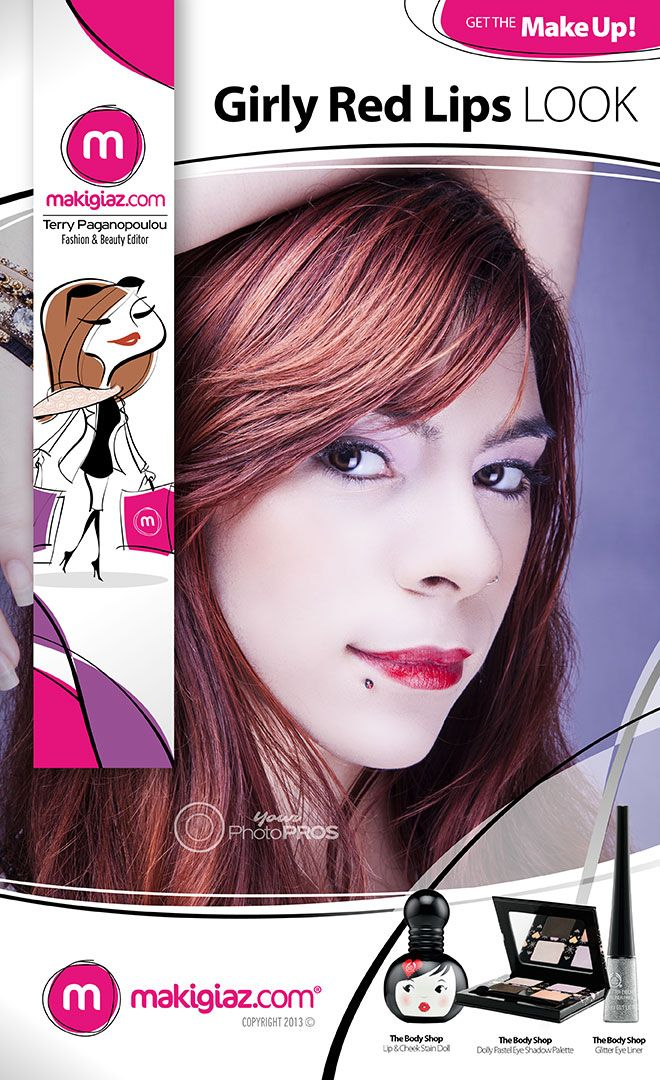 You should wear red lipstick no matter the age and on every occasion. Makigiaz Com has created for you a Girly Red Lips Look.  English Article http://makigiaz.com/blog/get-the-makeup-girly-red-lips-english-article/  Greek Article http://makigiaz.com/blog/get-the-makeup-girly-red-lips-look/