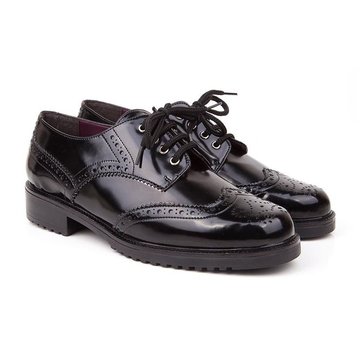 Elvis Black Faux Patent Flat Vegan Brogues | Beyond Skin US