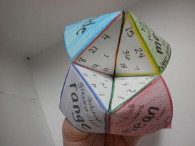 Mean, median, mode and range using paper fortune tellers... fun!