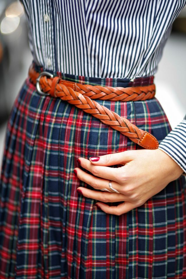 braided belt, striped button up, plaid skirt