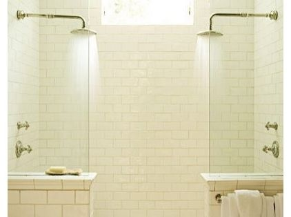 Shower look with actual door in center if all we do is subway tile in shower.