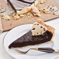 Dark Chocolate Pie with Cocoa Nib and Bacon Praline is like silky ...