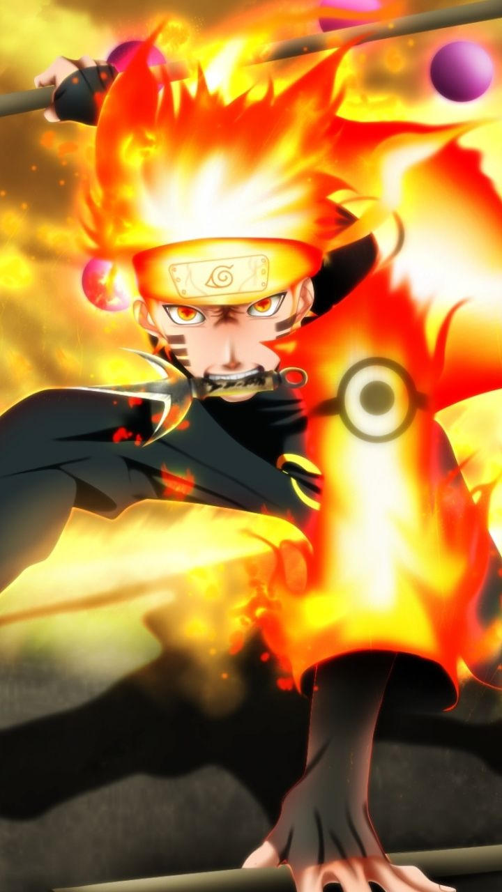 Naruto Uzumaki Fire Artwork 720x1280 Wallpaper Personagens