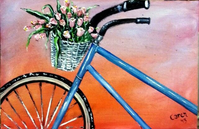 Bicycle in oils by Caren.A4.