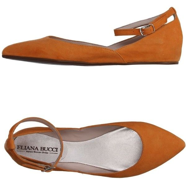 Eliana Bucci Ballet Flats ($46) ❤ liked on Polyvore featuring shoes, flats, orange, ballet flats, orange ballet flats, ballet pumps, leather ballet flats and ballerina shoes