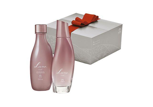 Presente Natura Luna Rosé : nova fragrância : madeira / envolvente / rosa : 1 Desodorante colônia feminino 75 ml + 1 Óleo desodorante corporal perfumado 150 ml.