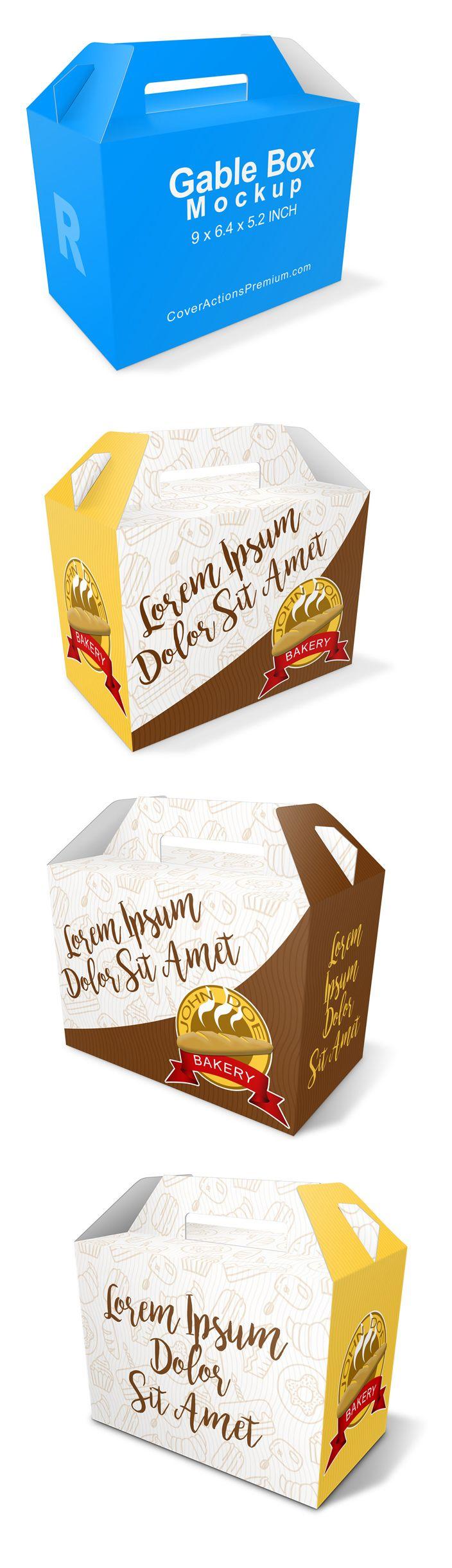 Download Gable Box Mockup V1 Cover Actions Premium Mockup Psd Template Box Mockup Gable Boxes Box