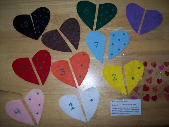 Heart Number Pack by MissKellysFelt on Etsy, $4.00