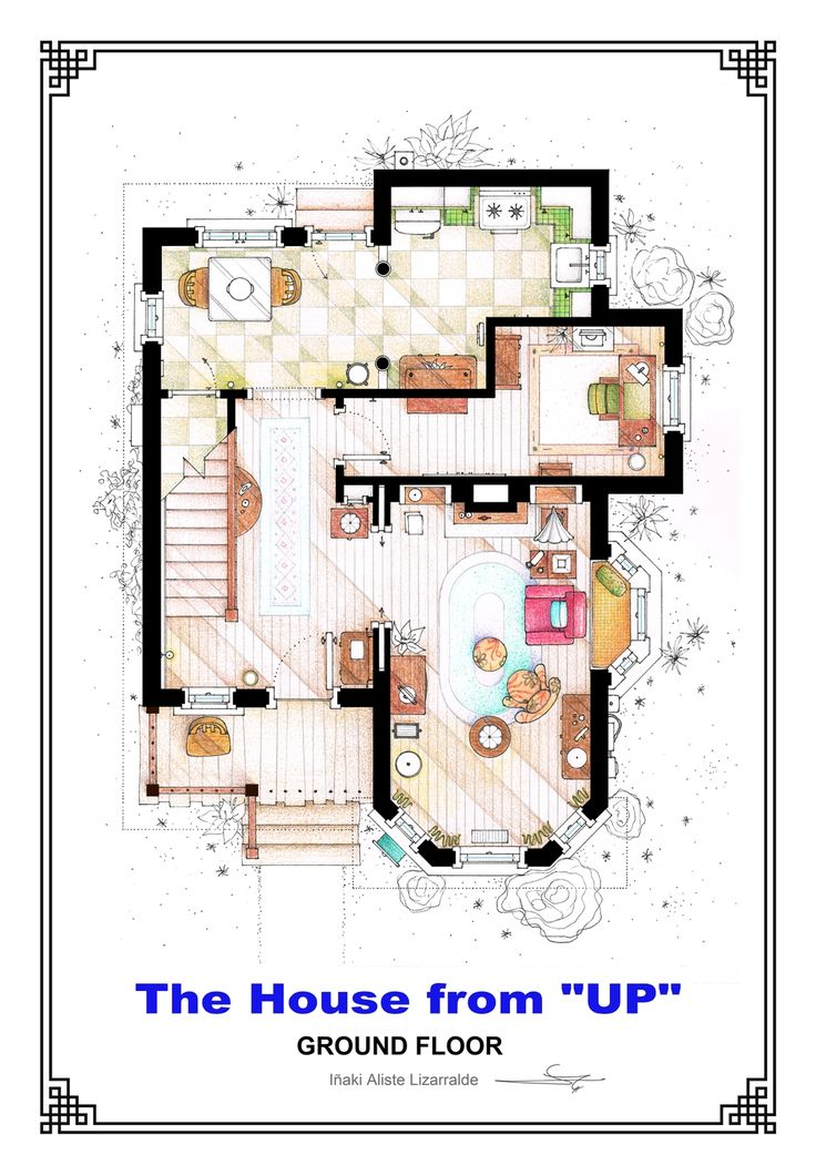 images about house plans on Pinterest   Floor plans    This is the ground floor floorplan of Carl  amp  Ellie    s residence from the film  quot UP