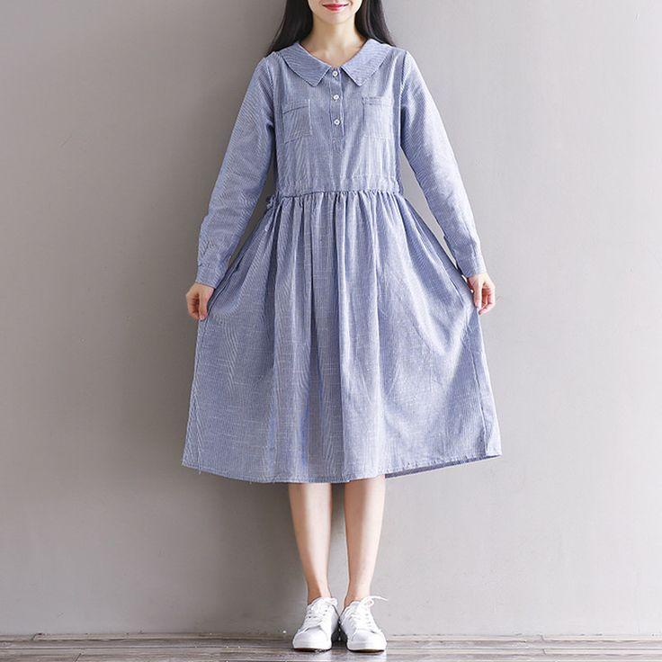 Осеннее платье в полоску из хлопка с принтом льняное платье платья с длинным рукавом Повседневные свободные платья Синий Бежевый Vestidos, размер S 2XLкупить в магазине Mira's Natural LifeнаAliExpress