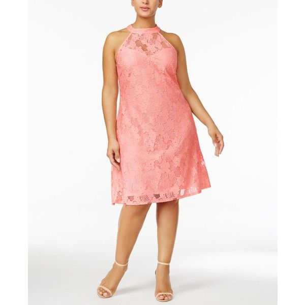 Love Squared Trendy Plus Size Lace Halter Dress (€33) ❤ liked on Polyvore featuring plus size women's fashion, plus size clothing, plus size dresses, peach, white halter dress, white lace dress, white lace cocktail dress, women plus size dresses and white halter cocktail dress