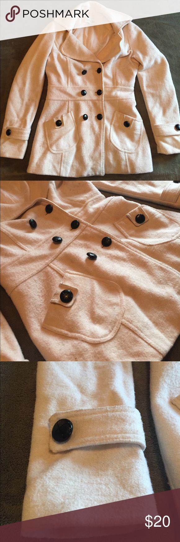 White wool pea coat Extremely nice part polyester/wool pea coat! Some wear shows since it is white, dry clean only. It will clean up perfectly. Get ready for winter! Forever 21 Jackets & Coats Pea Coats
