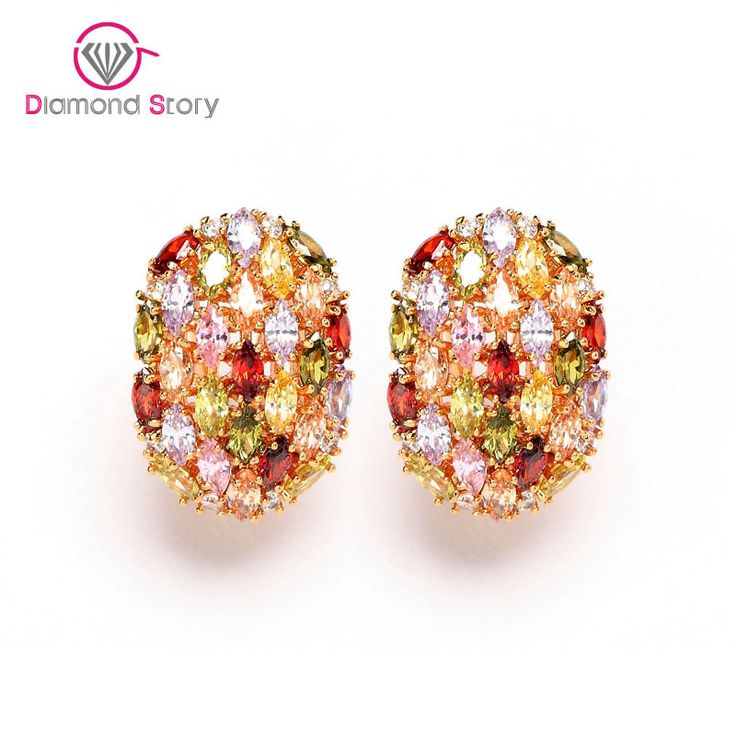 Teemi Fashion 18K Champagne Gold Plated Egg-shaped Women Stud Earrings with Multicolor Zircon Stone for Girls Birthday Jewelry www.bernysjewels.com #bernysjewels #jewels #jewelry #nice #bags