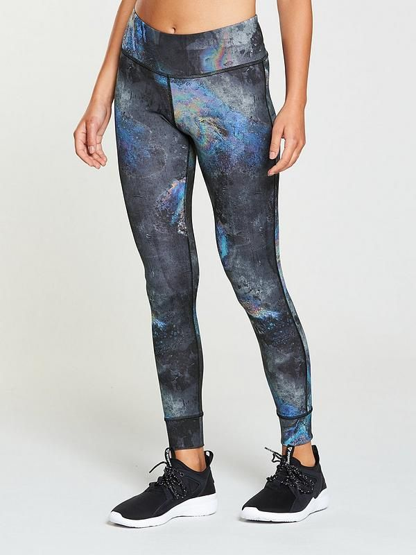 143ba376fdbbc4 Reebok Printed Leggings Reebok are upping the ante of your workout roster  with their oil slick