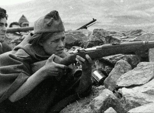 A member of the CNT militia force.  Spanish civil war