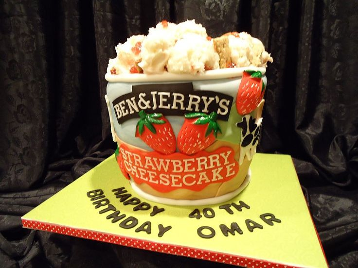 """Ben & Jerry's - For my SIL's birthday, who loves this ice cream. The cake is cheesecake flavored, the filling is cream cheese icing, laced with strawberry fruit and graham crackers; the same for the """"ice cream"""" on top of the cake. The cake is three layers (6, 7 & 8""""), iced with cream cheese buttercream, and covered in fondant. Decorations are fondant and gumpaste. TFL"""