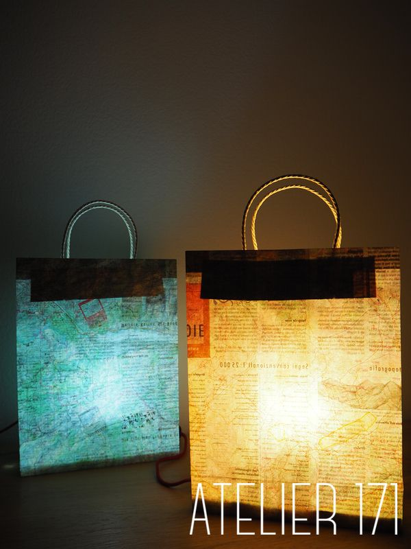 Lamps - Recycled map bag atelier171.com